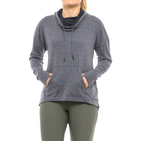 Mondetta Posit Shirt - Cowl Neck, Long Sleeve (For Women) in Navy Melange