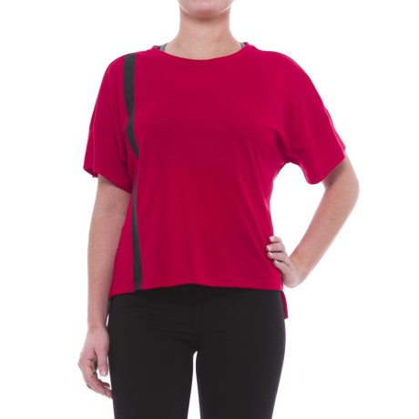 Mondetta Thelma Slub Jersey Shirt - Short Sleeve (For Women) in Red
