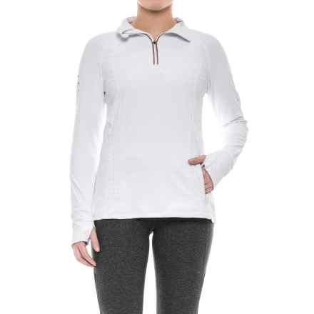 Mondetta Venus Solid Shirt - Zip Neck, Long Sleeve (For Women) in White - Closeouts