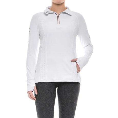 Mondetta Venus Solid Shirt - Zip Neck, Long Sleeve (For Women) in White