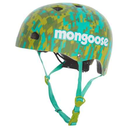 Mongoose Street Hardshell Bike Helmet (For Kids) in Teal Green Camo - Closeouts