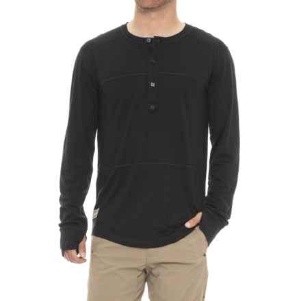 Mons Royale 1961 Henley Shirt - Merino Wool, Long Sleeve (For Men) in Black - Closeouts