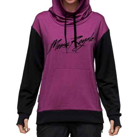 Mons Royale Hoodie - Merino Wool (For Women) in Fushia/Black - Closeouts
