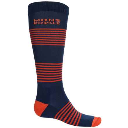 Mons Royale Lift Access Ski Socks - Merino Wool, Over the Calf (For Men) in Navy/Spice - Overstock