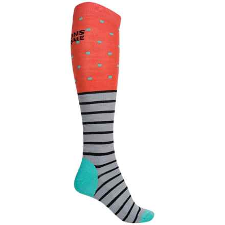 Mons Royale Lift Access Ski Socks - Merino Wool, Over the Calf (For Women) in Coral/Mint/Black/Grey - Overstock