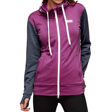 Mons Royale Mid Hit Hoodie - Merino Wool, Full Zip (For Women) in Charcoal/Fushia - Closeouts