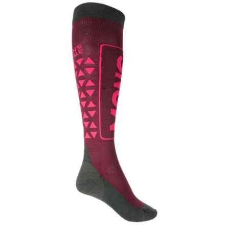 Mons Royale Mons Snow Tech Ski Socks - Merino Wool, Over the Calf (For Women) in Burgundy/Forest Green/Raspberry - Closeouts