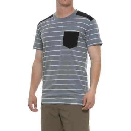Mons Royale PK Pocket T-Shirt - Merino Wool, Short Sleeve (For Men) in Bt Lead Stripe/Black - Closeouts