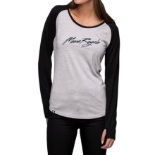 Mons Royale Raglan Base Layer Top - Merino Wool, Crew Neck, Long Sleeve (For Women) in Grey Marl/Black - Closeouts