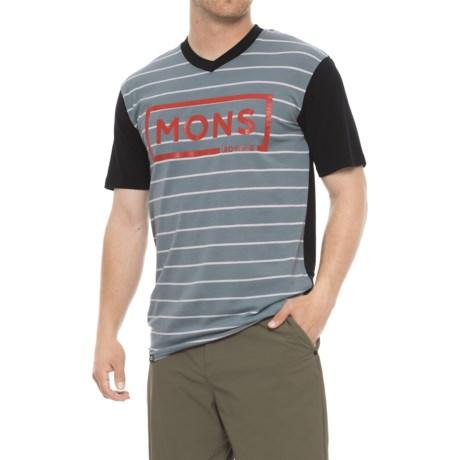 Mons Royale Redwood Box Logo T-Shirt - Merino Wool Blend, Short Sleeve (For Men) in Bt Lead Stripe/Black