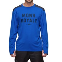 Mons Royale Riders Base Layer Top - Merino Wool, Long Sleeve (For Men) in Bay Blue/Charcoal - Closeouts