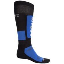 Mons Royale Tech Snow Ski Socks - Merino Wool, Over-the-Calf (For Men) in Bay Blue/Black/Grey - Closeouts