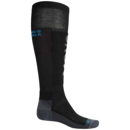 Mons Royale Tech Snow Ski Socks - Merino Wool, Over the Calf (For Men) in Black/Charcoal/Bay Blue - Closeouts