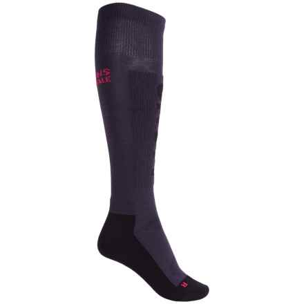 Mons Royale Tech Snow Ski Socks - Merino Wool, Over the Calf (For Women) in Charcoal/Black/Hot Pink - Closeouts