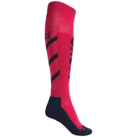 Mons Royale Tech Snow Ski Socks - Merino Wool, Over the Calf (For Women) in Hot Pink/Navy - Closeouts