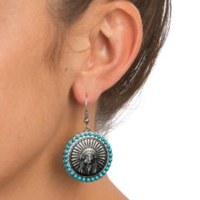 Montana Silversmiths Indian Chief Concho Earrings - Wire French Hooks in Silver/Turquoise - Closeouts