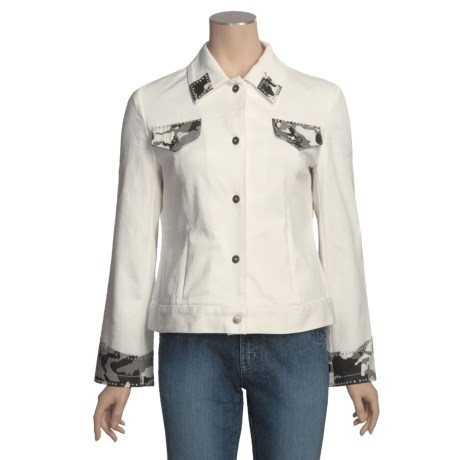 MontanaCo Camo Detail Jean Jacket (For Women) in White