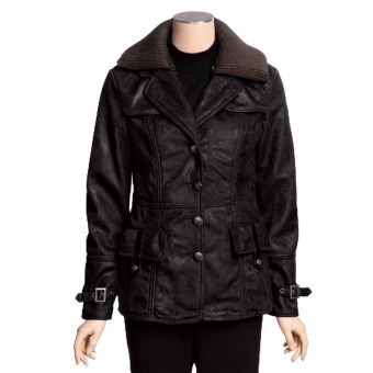 MontanaCo Faux-Shearling Barn Coat - Knit Collar Inset (For Women) in Midnight
