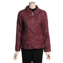MontanaCo Faux-Shearling Jacket - Pick Stitching, Zip Front (For Women) in Berry - Closeouts