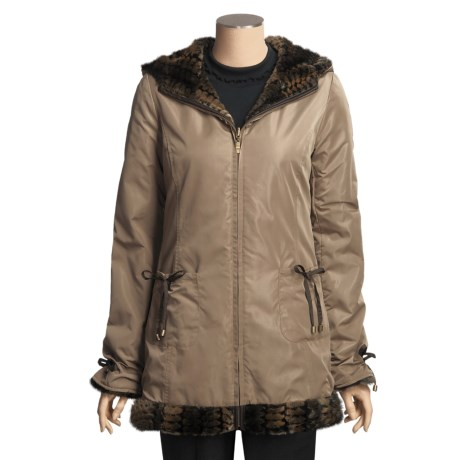 MontanaCo Reversible Hooded Coat - Faux Fur/Polyester Shell (For Women) in Brown