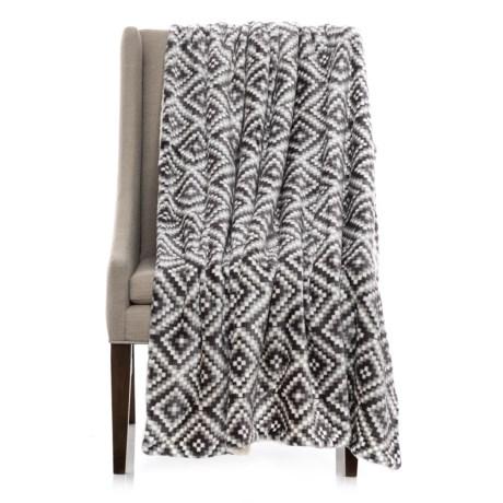 montauk printed berber fleece throw blanket 50x60u201d in blackgrey diamond