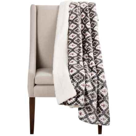 "Montauk Southwest Velvet Berber Throw Blanket - 50x60"" in Black/Grey Aztek - Closeouts"