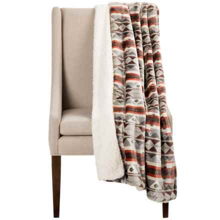 "Montauk Southwest Velvet Berber Throw Blanket - 50x60"" in Burnt Orage/Grey Stripe - Closeouts"