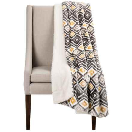 "Montauk Southwest Velvet Berber Throw Blanket - 50x60"" in Gold/Grey - Closeouts"