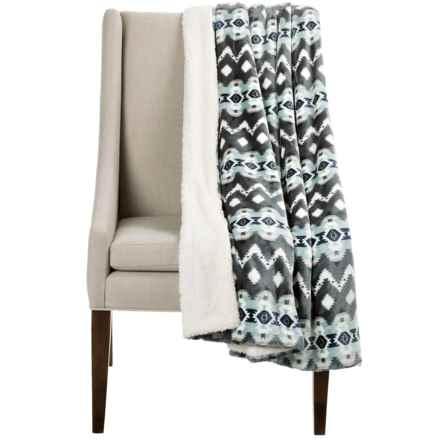 "Montauk Southwest Velvet Berber Throw Blanket - 50x60"" in Light Grey/Seafoam - Closeouts"