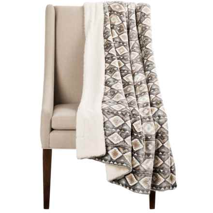 "Montauk Southwest Velvet Berber Throw Blanket - 50x60"" in Taupe/Chocolate - Closeouts"