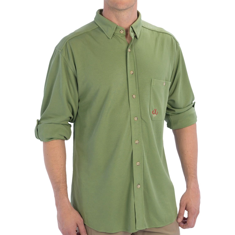 Montauk tackle company button down dress shirt for men for Men s upf long sleeve shirt
