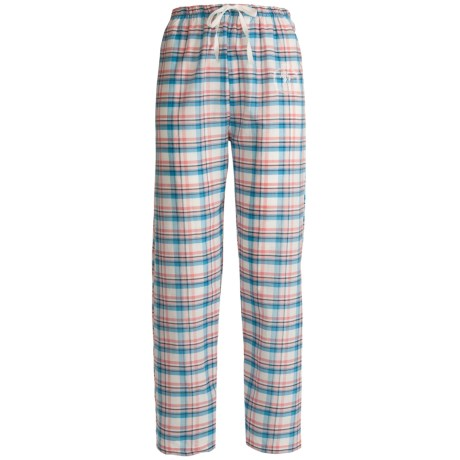 Monte Carlo Polo & Jockey Club Lounge Pants - Lightweight Cotton (For Women) in Blue Plaid