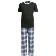Monte Carlo Polo & Jockey Club Pajamas - Short Sleeve (For Big Men) in Black/White - Closeouts