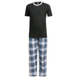 Monte Carlo Polo & Jockey Club Pajamas - Short Sleeve (For Big Men) in Black/White