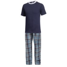 Monte Carlo Polo & Jockey Club Pajamas - Short Sleeve (For Big Men) in Dark Blue/White - Closeouts