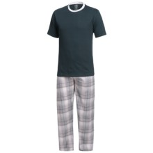 Monte Carlo Polo & Jockey Club Pajamas - Short Sleeve (For Big Men) in Dark Teal/Grey - Closeouts