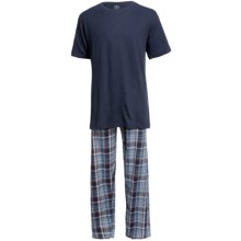 Monte Carlo Polo & Jockey Club Plaid Pajamas - Short Sleeve (For Men) in Dark Blue - Closeouts