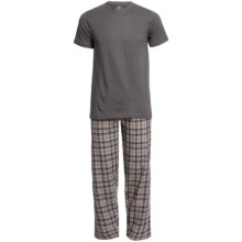 Monte Carlo Polo & Jockey Club Plaid Pajamas - Short Sleeve (For Men) in Grey - Closeouts