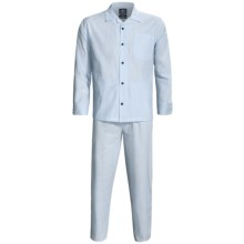 Monte Carlo Polo & Jockey Club Plaid Poplin Pajamas - Long Sleeve (For Men) in Light Blue/White Stripe - 2nds