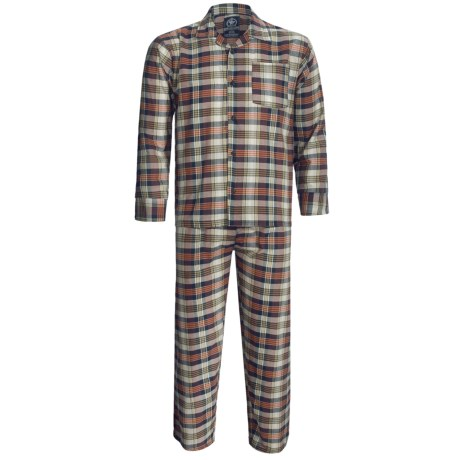 Monte Carlo Polo & Jockey Club Plaid Poplin Pajamas - Long Sleeve (For Men) in Orange Plaid
