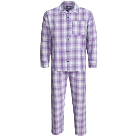 Monte Carlo Polo & Jockey Club Plaid Poplin Pajamas - Long Sleeve (For Men) in Purple Plaid