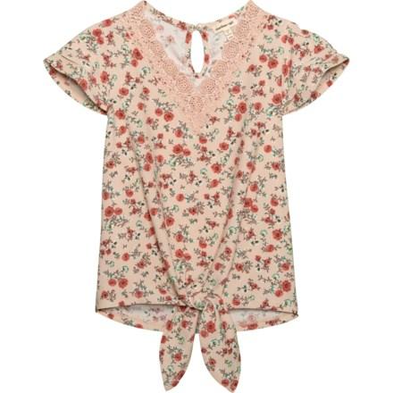 30d8b14dd9 Monteau Flutter Sleeve Lace Trim Shirt - Short Sleeve (For Big Girls) in  Blush