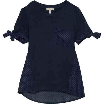 Monteau Knit to Woven Shirt - Short Sleeve (For Big Girls) in Navy/Blush - Closeouts