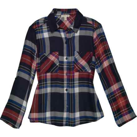 Monteau Plaid Button-Up Shirt - 3/4 Sleeve (For Big Girls) in Red Plaid - Closeouts