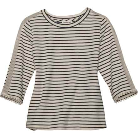 Monteau Striped Shirt - 3/4 Sleeve (For Big Girls) in Navy White - Closeouts