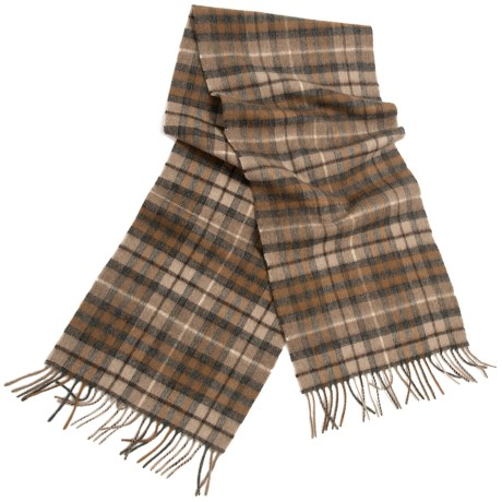 "Moon Cashmere Plaid Scarf - 58x12"" (For Men and Women) in Brown Check"