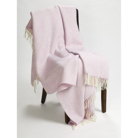 Moon Herringbone Throw Blanket - New Wool in Crystal Lilac