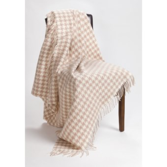 Moon Houndstooth Throw Blanket - New Wool in Camel