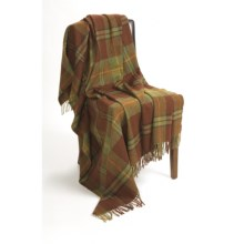 Moon Plaid Check Throw Blanket - Lambswool in Green - Closeouts