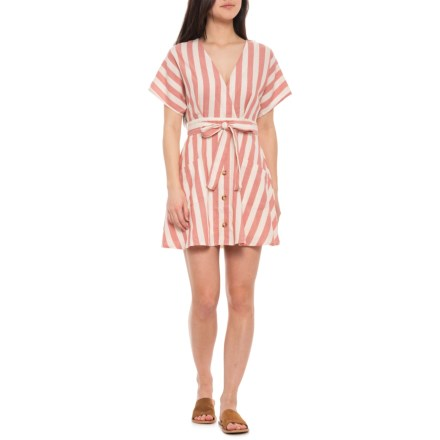 f38cc6dccea6c MOON RIVER Button-Front Tie Mini Dress - Short Sleeve, Red-White Stripe